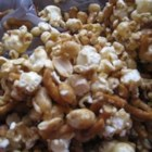Caramel Pretzel Nut Popcorn - This is a very good holiday treat the my kids can't get enough of. It combines the sweetness of caramel with the saltiness of pretzels, nuts and popcorn. There is no mess because it is mixed in a large throw-away brown bag!