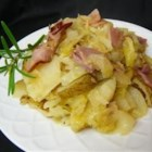 Skillet Ham, Cabbage and Potatoes - Old fashioned one skillet meal with spiced potatoes, cabbage and ham; tasty and satisfying.  Serve with green beans.