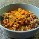 Black-Eyed Pea Soup - Hearty black-eyed pea soup is almost a stew, it's so chock-full of ground beef, pork sausage, and tomatoes.