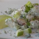Blue Green and Red Potato Salad - Mix apples and blue cheese together for a tasty combination of sweet, creamy, salty, and tangy.  Toss them into potato salad and you'll have a terrific addition to any picnic, cook-out, or barbeque.