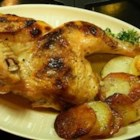 High Roast Chicken - By cutting a brined chicken down the backbone and flattening it out, you can reduce the roasting time and have delicious roasted chicken and potatoes any night of the week. Start the brining earlier and finish cooking the chicken when convenient.