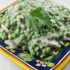Creamy Mushroom Peas - This is an great side with mashed potatoes and chicken!  Company loves this one and so does my husband.  Not the boring everyday plain peas. These peas are combined with mushrooms and onion in a savory cream sauce.