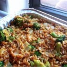 Brown Rice, Broccoli, Cheese and Walnut Surprise - Brown rice is cooked with a bit of onion and garlic in a vegetable stock. The broccoli is zapped in the microwave. The two are then topped with lovely toasted walnuts and shredded Cheddar cheese.