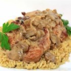 Iowa Pork Steak - Pork steaks are made tender and succulent by slow-roasting in mushroom sauce.