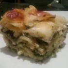 Pesto Lasagna - Scrumptious lasagna with basil pesto, spinach and plenty of bubbly cheese.