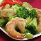 Shrimp with Broccoli in Garlic Sauce - Shrimp, broccoli, and water chestnuts are stir-fried with a combination of soy and oyster sauces in this quick Chinese-style dish.