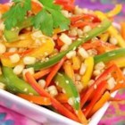 Asian Pepper Salad - A brilliantly-colored, fresh sweet pepper salad is tossed with toasted sesame dressing for an Asian-inspired side dish.