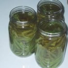 Pickled Green Beans - Fresh green beans are steamed and then canned with a clove of garlic and sprigs of fresh dill.  You can substitute 1 teaspoon of dill seeds for the 2 sprigs of dill, if desired.