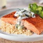 20-Minute Skillet Salmon - You're only 20 minutes away from sizzling salmon in a creamy sauce infused with cucumber and dill. Low-fat, low-cal, big flavor.