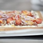 Spicy Jalapeno and Bacon Flatbread - Spicy jalapeno cream cheese is spread on a flatbread crust, sprinkled with crumbled bacon, veggies, and cheese and baked until golden brown.