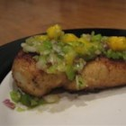 Mango Salsa Chicken - Breaded chicken gets an exotic finish with a fruity, fiery salsa of mango, cilantro and a little onion and hot pepper.