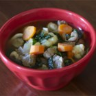 Sausage and Kale Soup - Chopped mushroom, cauliflower, carrot, onion, and kale simmer in chicken broth seasoned with the addition of pork sausage.