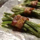 Green Bean Bundles II - Green beans marinated overnight in Italian-style salad dressing, and then wrapped with bacon and broiled.