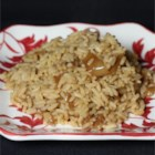 Maria's Rice - Rice is baked with French onion soup, beef broth and butter, for a rich and hearty side dish.