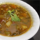 Claudette's Minestrone - This is a straight-forward soup with potatoes, carrots and celery cooked in a tomato broth with kidney beans and pasta.