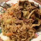 Spicy Thai Steak and Vegetable Stir Fry - Slices of beef and noodles are tossed with a colorful blend of veggies in this quick, peanutty stir-fry meal.