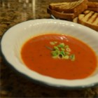 Red Pepper and Tomato Soup - Lots of spices add lots of flavor to this yummy tomato and red pepper soup. For a pretty presentation, garnish soup with chopped green onions or fresh parsley.