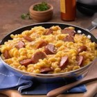 Skillet Mac and Cheese & Kielbasa - Just one skillet is all you need to make this cheesy, creamy mac and cheese with slices of delicious kielbasa sausage.