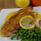 Chicken with Orange and Lemon Sauce - Breaded chicken breasts served with a sweet zesty orange sauce.