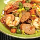 New Orleans Stew with Smoked Andouille Chicken Sausage - Spicy andouille chicken sausage is simmered in chicken broth with okra, corn, sweet potato chunks, and shrimp for a fast and hearty stew.