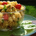 Sesame Chicken Pasta Salad - The perfect picnic pasta salad! Chopped chicken combines with toasted sesame seeds, spinach and green onions, all marinated in a sweet and tangy soy and vinegar-based dressing.