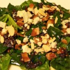Spinach-Gorganzola Salad - A delicious family recipe that serves up well with BBQ'd dishes. A spinach salad with a hot bacon dressing goes will with crumbled gorgonzola cheese and pine nuts.  Well worth the effort to make.