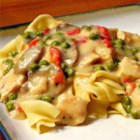 Chicken a la King I - Easy and elegant chicken dish.  It's a great way to use leftover chicken or turkey.  Green pepper and red pimientos make this a pretty dish to serve at Christmas or anytime.  Serve over cooked rice, toast, or noodles.  Can be made ahead and reheated.