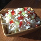 Bell Pepper-Cabbage Salad - Enjoy this crunchy variation of coleslaw with green pepper and celery in a tangy-sweet cider vinegar dressing made with a sugar substitute.