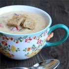 Creamy Reuben Soup - This Reuben soup has all the ingredients of the traditional sandwich. It combines corned beef, sauerkraut, Swiss cheese, and half-and-half to make a creamy soup topped with rye croutons.