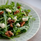 Hazelnut Blue Pecan Salad - Gorgonzola cheese and pecans top a mix of salad greens or arugula with a drizzle of hazelnut oil.