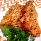 Salsa Chicken Meatloaf - Light chicken meatloaf made with salsa and seasoned croutons has a bit of south-of-the-border flavor from taco seasoning and pepperjack cheese. It's a nice change of pace, with a light, zesty taste.
