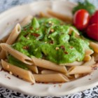 Creamy Arugula Sauce - Avocado gives this vegan green sauce a smooth and creamy texture. Fresh cilantro and lime lighten the peppery arugula and make this a wonderful topping for pasta or sandwiches.