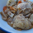 Chicken and Dumplings II - This chicken and vegetable stew begins with a whole chicken cooked in a seasoned broth.  The chicken is deboned and the meat is returned to the soup pot before adding the buttermilk baking mix dumplings.