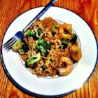 Easy Shrimp Lo Mein - Use cooked shrimp and frozen mixed vegetables to dress up a pack of ramen noodles with this user-friendly recipe to file with quick dinner ideas.