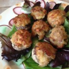 Tuna Stuffed Mushrooms - A creamy blend of tuna and Swiss cheese is stuffed into button mushrooms and baked to perfection.