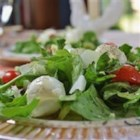 Bocconcini Salad - Bite-size balls of fresh mozzarella, known as bocconcini, make up this great salad made with cherry tomatoes, bell pepper, arugula, and fresh basil. It's a version of the popular 'insalata caprese.'