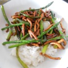 Stir Fried Asparagus - Asparagus is sauteed with onion and roasted garlic, just until it's slightly tender.  Be careful not to overcook, to maintain crispness.