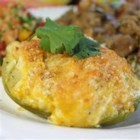 Baked Chayote Squash - Chayote is stuffed with a Cheddar and Parmesan, then baked until golden brown.