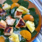 Grilled Pineapple Salad - Sweet and savory come together beautifully in a salad of marinated grilled chicken and pineapple on a bed of baby spinach.