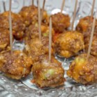 Sausage Cheese Balls - These sausage balls were a hit at our Christmas party this year.  I accidentaly used low-fat cheese in the recipe and couldn't tell the difference. No frying necessary, they bake beautifully.