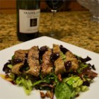Grilled Peppercorn Steak and Caramelized Pecan Salad with Cabernet-Cherry Vinaigrette - A company-worthy salad of warm grilled steak on baby greens with pecans and a wine dressing will make your guests 'ooh' and 'ah.' Marinate the steak and make the dressing and candied pecans ahead of time so assembling the salad will be a snap. You can use old, turned wine for the dressing.