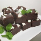 Dark Chocolate Peppermint Fudge - Dark chocolate fudge topped with crushed peppermint candies is a festive treat to give on Valentine's Day or during the Christmas season.