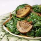 Mushrooms and Spinach Italian Style - This recipe is a typical recipe of Southern Italy, specifically Apulia. Spinach and mushrooms are sauteed with onion, garlic, balsamic vinegar, and white wine.