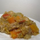 Stovetop Butternut Squash and Chicken Stew with Quinoa - This all-in-one-pan fall stew is made with chicken tenderloins, chicken apple sausage, butternut squash and apples.  Serve with warm biscuits or bread.
