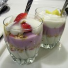 Vanilla Berry Parfaits - Delicious and easy, this is a fabulous mix of berries and yogurt! If you like, you can make a thin layer of graham crackers or granola in each vanilla/berry layer. That gives it a little more crunch.