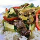 Asian Beef with Snow Peas - Stir-fried beef with snow peas in a light gingery sauce.