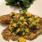 Curried Tilapia with Mango Salsa - Tilapia fillets are rubbed with a curry and garlic pepper blend, quickly pan fried, then served with a spicy mango salsa. A simple green salad and rice as accompaniments make this a complete meal.
