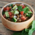 Lentil Salad with a Persian Twist - Lentils and crunchy vegetables are tossed in a vinaigrette for a quick and easy salad perfect for picnics or lunch.