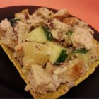 Hen's Nest Chicken Salad - A light and pretty chicken salad with pineapple chunks and walnuts is served in taco salad bowl 'nests' for a quick lunch idea.