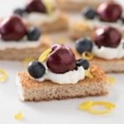 Cherry and Blueberry Whole Grain Cheesecake Bites - Be prepared to share when you bring these mouthwatering bites to any summer gathering!